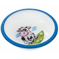Тарелка-миска пластиковая с нескользящим дном Корова, с синим ободком, Canpol babies (4/416-2)