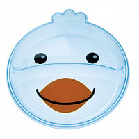 Тарелка с двумя отделениями Зверюшки, голубой ципленок, Canpol babies (74/005-1)
