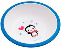 Тарелка-миска пластиковая с нескользящим дном Пингвин, с синим ободком, Canpol babies (4/416-6)
