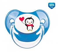 Пустышка латексная анатомическая, 6-18 м+, Пингвин, синяя, Canpol babies (22/587-2)