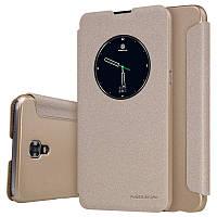Кожаный чехол (книжка) Nillkin Spakle Series для LG K500 X Screen / X View золотой