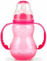 Антиколиковая бутылочка с ручками, розовая, 210 мл., Nuby (1092-2)