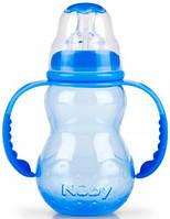 Антиколиковая бутылочка с ручками, синяя, 210 мл., Nuby (1092-3)