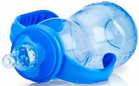 Полипропиленовая бутылочка с соской-непроливайкой, голубая, 320 мл, Nuby (1093-2)