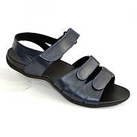Женские босоножки на липучках из натуральной кожи синего цвета, плоская подошва. 38 размер