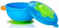 """Тарелка для СВЧ-печи на присоске с крышкой """"Улёт! Посуда!"""" Nuby (синяя) (5322-3)"""