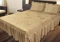 Покрывало на кровать 180х210  «Sunny Day» с рюшами (Коричневое)