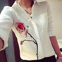"""Женская белая блуза-рубашка длинный рукав с принтом """"РОЗА""""- ЗАМЕРЫ В ОПИСАНИИ!"""