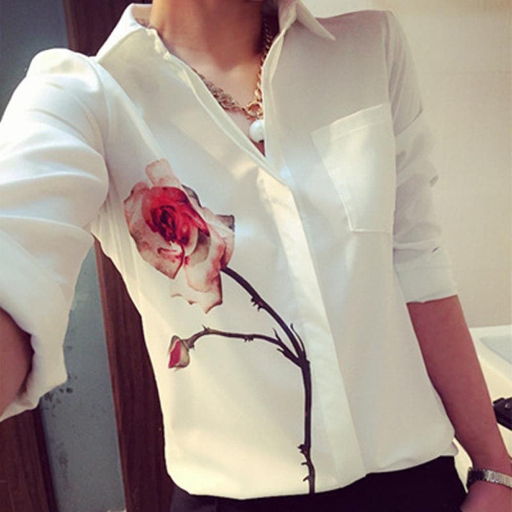 """Женская белая блуза-рубашка длинный рукав с принтом """"РОЗА"""""""