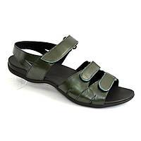 Женские босоножки на липучках из натуральной кожи зеленого цвета, плоская подошва. 39 размер