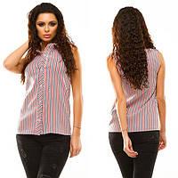 """Женская летняя блузка-рубашка """"Цветная Полоска"""" в расцветках (46-200) 42"""