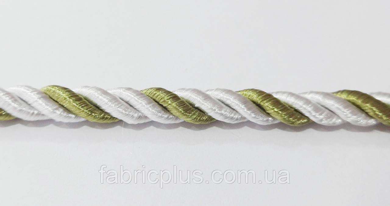 Шнур шторный атласный 5 мм белый/оливковый