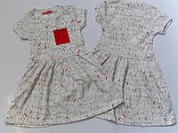 Платье для девочек, 4 года, белое с принтом