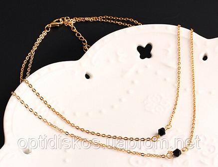 Двойное ожерелье с двумя черными бусинками, фото 2