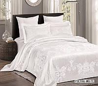 Жаккардовое постельное белье евро размера Arya Pietra белый AR42