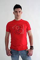 Мужская футболка красная и черная с рисунком Armani