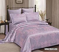 Жаккардовое постельное белье евро размера Arya Pietra фиолетовый AR42