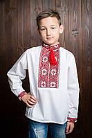 """Детская белая вышиванка для мальчика с длинным рукавом и с красной вышивкой """"Максимка"""", рост 98-152."""