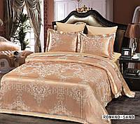 Жаккардовое постельное белье евро размера Arya Romano песочный AR42