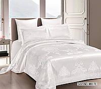 Жаккардовое постельное белье евро размера Arya Savino белый AR42