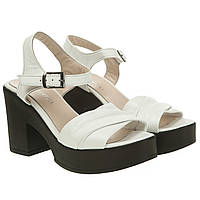 Босоножки женские Wonderfull (белые, кожаные, на высоком каблуке, лаконичный дизайн)