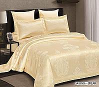 Жаккардовое постельное белье евро размера Arya Savino крем AR42