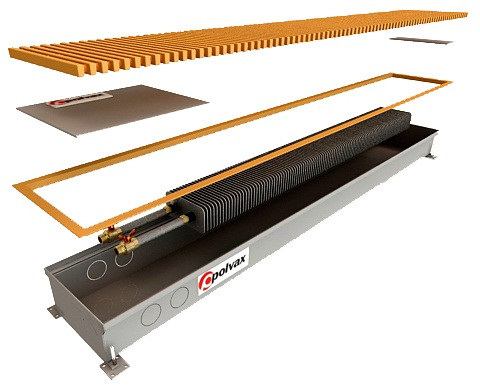 Конвектор внутрипольный Polvax™ КV 300х90 - 1000, (12V)