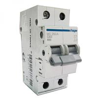 Автоматический выключатель Hager 63А, 2п, С, 6 kA, 2м (MC263A)