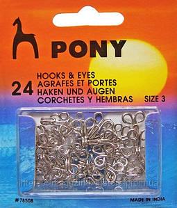 Гачки і петлі Pony,колір нікель розмір 3