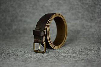 Кожаный ремень под джинсы |10902| Кофейный