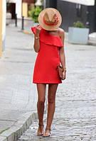 Стильное летнее платье с воланом на груди