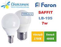 Светодиодная лампа LED Feron SAFFIT LB-195 шарик 7W 230V