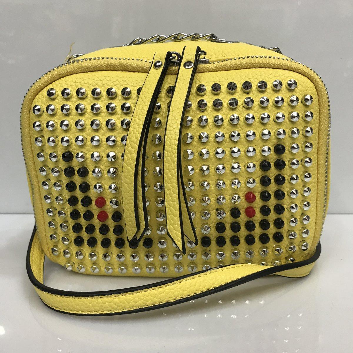 bd40aa0f0799 Cумка клатч 2225 женская с шипами с плечевым ремнем разные цвета желтый -  Shoppingood в Харькове