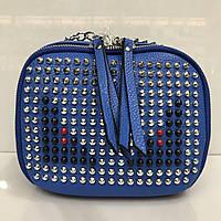 Cумка клатч 2225 женская с шипами с плечевым ремнем разные цвета синий