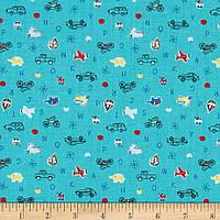 """Ткань для пэчворка и рукоделия американский хлопок """"Машинки на синем"""" - 22*55 см"""