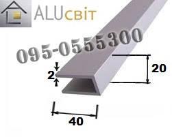 Швеллер алюминиевый п-образный профиль 20х40х2 анодированный серебро, фото 2