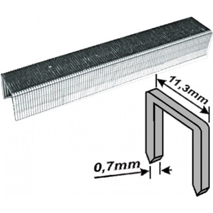 Скобы закаленные Профи, узкие прямоугольные, (тип 53), ширина 11,3 мм, 14 мм 1000 шт.
