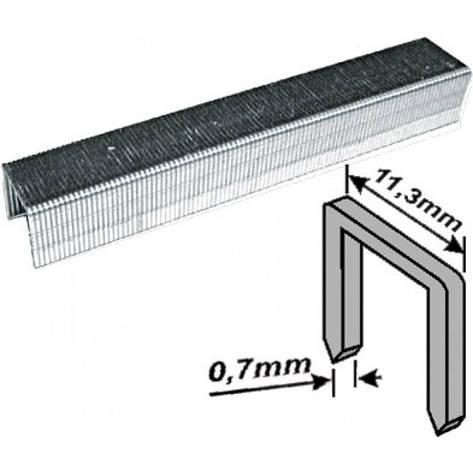 Скобы закаленные Профи, узкие прямоугольные, (тип 53), ширина 11,3 мм, 14 мм 1000 шт., фото 2