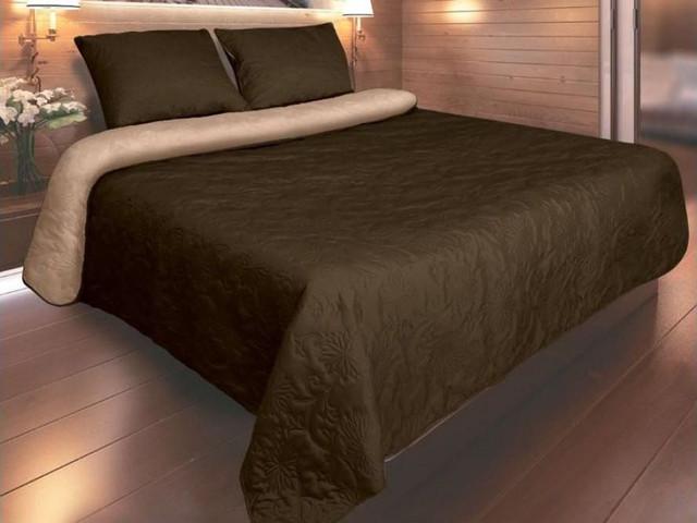 """Покрывало для кровати 220х240 """"Vintage"""" P-01 Коричневый"""