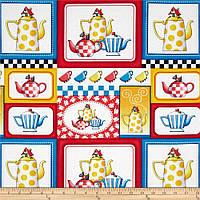 """Ткань для пэчворка и рукоделия американский хлопок """"Чайники коллаж"""", 40*55 см"""