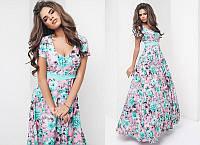 """Элегантное длинное нарядное платье """"Софт Цветы Клёш Макси"""" в расцветках (42-2040)"""