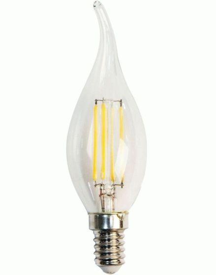 Светодиодная лампа Filament  Z- LIGHT ZL1014 5W С37 E14 4000K (прозрачная свеча на ветру) Код.58891