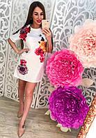 Женское красивое платье-туника с объемным рисунком (2 цвета)