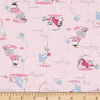 """Ткань для пэчворка и рукоделия американский хлопок """"Котятки с клубочками розовые"""", 30*55 см"""