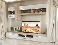 Стенка ТВ «Пальмира» дуб сонома | белый лак Світ Меблів