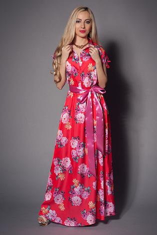 Нарядное длинное летнее платье из креп-шифона с цветочным принтом, фото 2