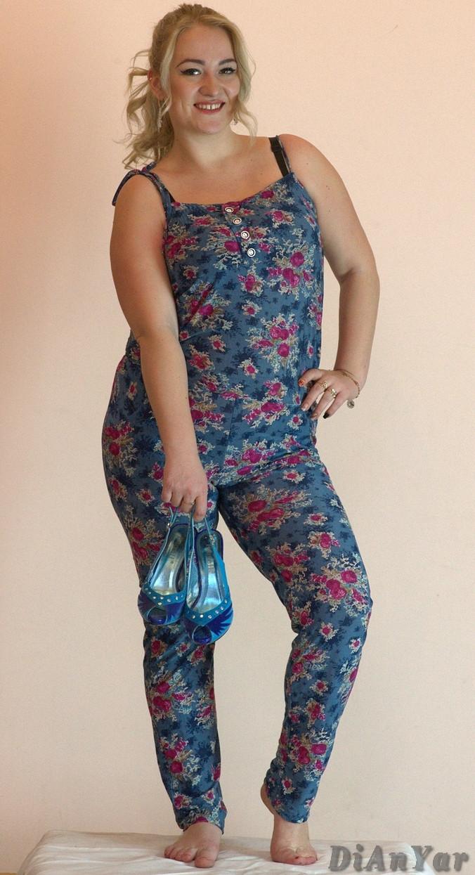 Комбинезон женский летний коттоновый большого размера MARINA