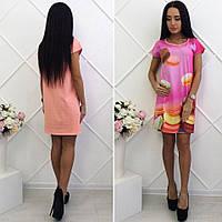 Платье летнее короткое ,Ткань перед дайвинг  Спина хлопок много расцветок,фото реал супер качество мпас № 0385