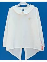 Белая нарядная блузка туника с длинным задом для девочки 128-152