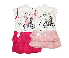 Платья детские трикотажные на лето Pink 0898
